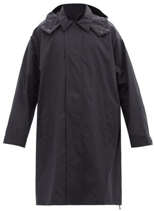 Raey Oversized Lightweight Cotton-blend Hooded Raincoat - Mens - Navy