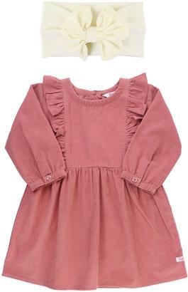RuffleButts Girl's Waterfall Ruffle Dress w/ Bow Headband, Size 12M-8