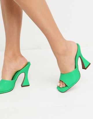 ASOS DESIGN Noland platform heeled mules in green