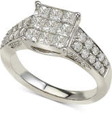 Macy's Diamond Square Cluster Engagement Ring (1-1/2 ct. t.w.) in 14k White Gold