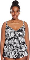 Penbrooke Women's Plus-Size Intermingle Triple Tier Tankini Top