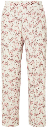 Markus Lupfer Rae Cropped Floral-print Plisse-crepe Wide-leg Pants