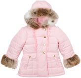 KC Collections Pink Faux Fur Ruffle Puffer Coat - Toddler & Girls