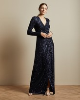 Ted Baker NATTALI Sequin long sleeved maxi dress