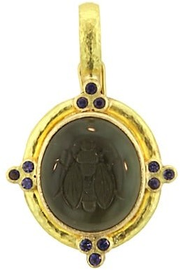 Elizabeth Locke Venetian Glass Intaglio 19K Yellow Gold & Iolite Smoke 'Honey Bee' Pendant