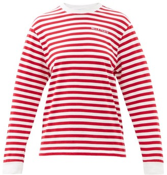 Bella Freud Logo-embroidered Striped Cotton-jersey T-shirt - Red