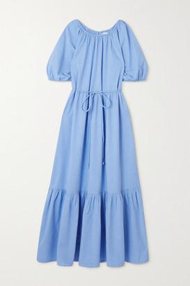 Apiece Apart Simone Belted Tiered Organic Cotton Midi Dress - Light blue