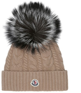 Moncler Fur-trimmed wool-blend hat