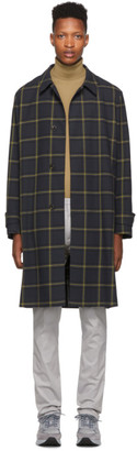 Paul Smith Navy and Yellow Check Oversized Coat
