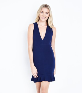 New Look AX Paris Plunge Neck Frill Hem Dress