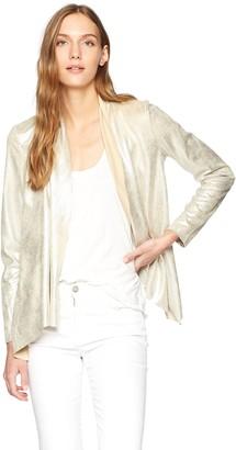 Bagatelle Women's Metllic Faux Suede Drape Jacket