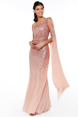 Goddiva Peach One Shoulder Sequin & Chiffon Maxi Dress
