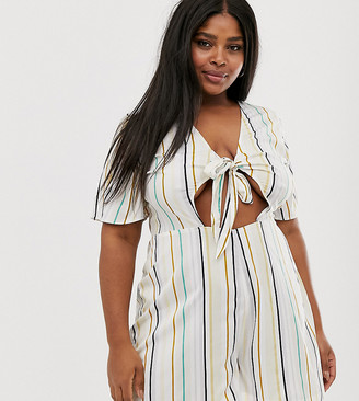 Influence Plus tie front playsuit in natural stripe