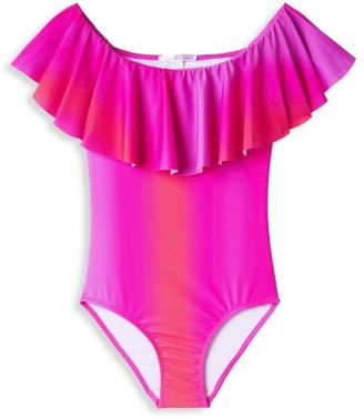 Stella Cove Little Girl's & Girl's One-Piece UPF 50+ Neon Ombre Swimsuit