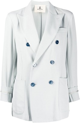 Barena Cropped Sleeve Double Buttoned Blazer