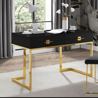 Nicole Miller Plumeria Reversible Desk Color: Black/Gold