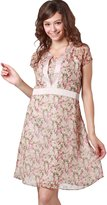 Sweet Mommy Maternity and Nursing Floral Print Chiffon Dress SAXS