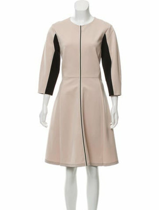 Schumacher Colorblock Knee-Length Dress w/ Tags Beige