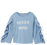 Speechless Sky 'Never Mind' Ruffle-Sleeve Tee - Girls