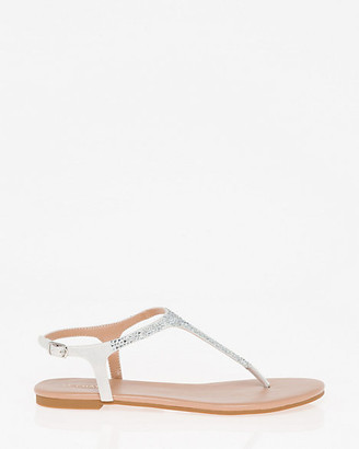 Le Château Jewel Embellished Satin Thong Sandal