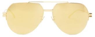 Bottega Veneta Mirrored Aviator Metal Sunglasses - Gold