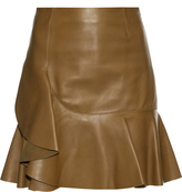 Alexander McQueen Asymmetric ruffled leather mini skirt
