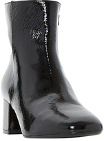 Dune Packham Block Heeled Ankle Boots, Black Patent