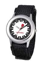 Red Bubble W002060 Boys' Quartz Educational Watch – White Dial – Black Nylon Strap