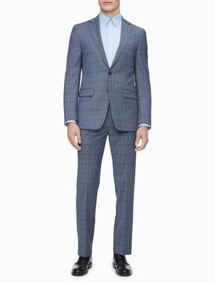 Calvin Klein Slim Fit Blue Chambray Plaid Jacket