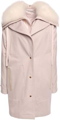 Agnona Goat Hair-trimmed Cotton-twill Hooded Coat