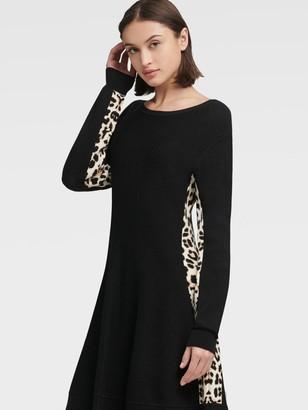 DKNY Sweater Dress With Leopard Stripe