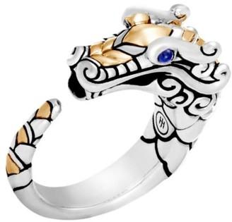 John Hardy Legends Naga 18K Yellow Gold, Sterling Silver & Blue Sapphire Dragon Ring