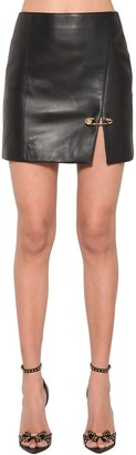 Versace Safety Pin Nappa Leather Mini Skirt