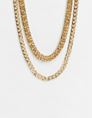 Topshop chunky chain multirow necklace in gold