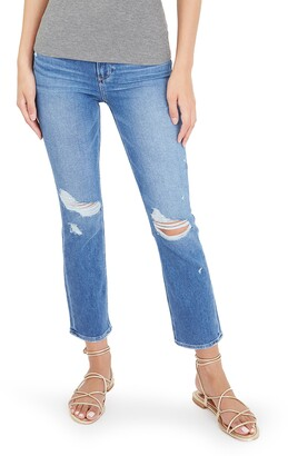 Paige Cindy Ripped Crop Straight Leg Jeans