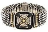 Lagos Diamond Cross Caviar Link Bracelet