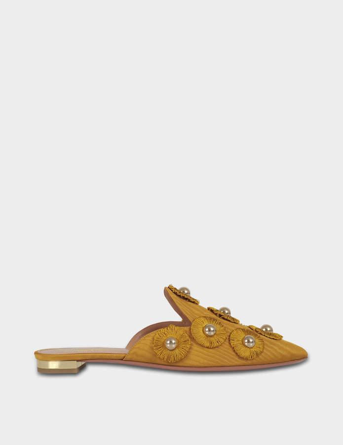 Aquazzura Sunflower Flat Shoes in Gold Moire Fabric