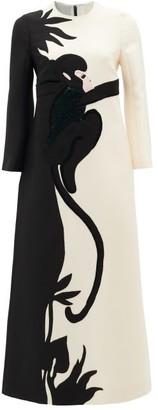 Valentino Sequinned Monkey-applique Wool-blend Dress - Womens - Black Multi