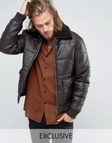 Black Phoenix Faux Leather Bomber Quilted Removable Fleece Collar In Brown