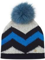 Bogner Striped Fox Fur Beanie Hat, Navy, M
