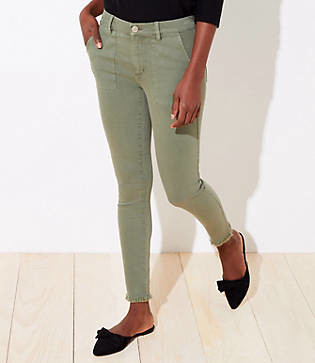 LOFT Petite Utility Skinny Jeans in Sage Cloud