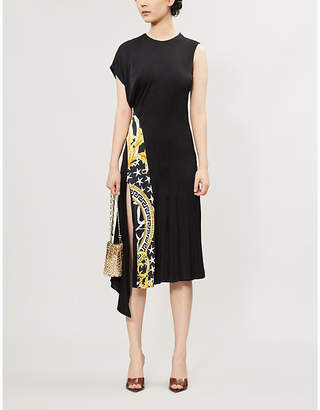 Versace Baroque Voyage-Panel Stretch-Woven Midi Dress