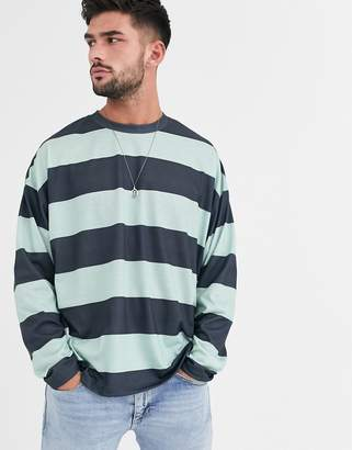 Asos Design DESIGN oversized long sleeve wide stripe t-shirt in navy and green-Multi