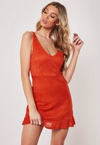 Missguided Red Lace Cami Plunge Frill Hem Dress