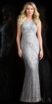 Scala Illusion Back Sequin Embellished Column Prom Dress