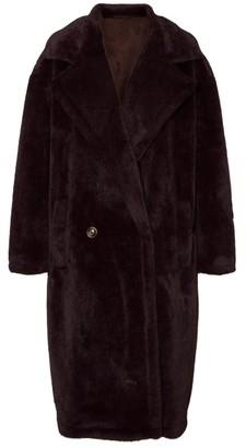 Vero Moda Long Faux Fur Coat - Plum - M (10)