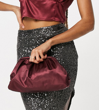 Glamorous Exclusive slouchy pillow bag in burgundy satin
