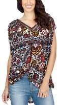 Lucky Brand Womens Printed Crochet Trim Tunic Top