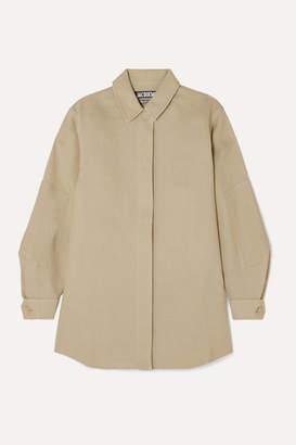 Jacquemus Loya Oversized Silk Shirt - Beige