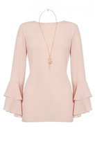 Quiz Dusky Pink Frill Sleeve Necklace Top